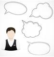 Man and speech bubbles vector