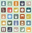 Spa flat icons on green background vector