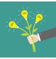 Businessman hand holding bouquet of idea light vector