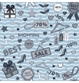 In blue tones pattern on shopping themed design vector