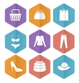 Set of modern flat sale icons shopping vector