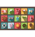 Summer vacation flat icons with long shadow design vector