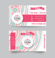 Business card template blue white and pink vector