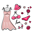 Fashion retro icons and accessories vector