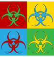 Pop art biohazard sign icons vector