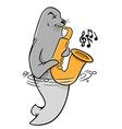 Saxophonist seal vector