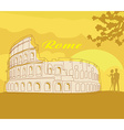 Couple silhouette in front of colosseum in rome vector