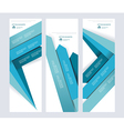 Set of abstract paper banners with blue arrows vector