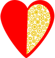 Red heart made of golden gear wheels vector