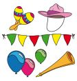 Party and carnival set isolated vector