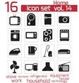 Black home appliances icon set vector