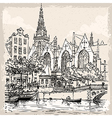 Vintage hand drawn view of old church in amsterdam vector