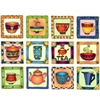 Tea cups and pots frame funny banner hand drawn vector