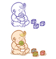 Baby and cubes vector