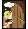 Girl peeking at a small door vector