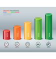 Trading cylindrical bars infographic vector