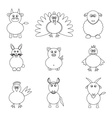 Farm animals simple outline icons set eps10 vector