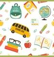 Cute school cartoon seamless pattern vector