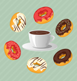Donuts with cup of coffee on blue vector