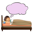 A young boy with an empty thought while sleeping vector