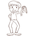 A plain sketch of a winner holding a medal vector