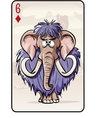Six of diamonds playing card with a mammoth vector