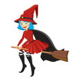 Witch riding a broom vector