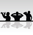 Funny man in various poses silhouette vector