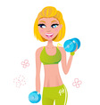 Fit blond hair woman  weights vector