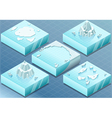 Isometric arctic sea with iceberg vector
