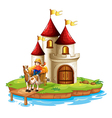 A boy and his cart in front of a castle vector