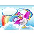 A bird in the sky near the rainbow with an empty vector
