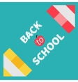 Two pencils frame back to school card flat design vector