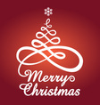Red christmas card with tree vector