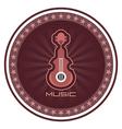 Guitar round emblem vector