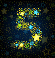 Number 5 cartoon star colored vector