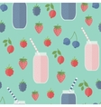 Seamless background smoothie and berries vector