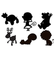 Different animals in black gray and brown colors vector
