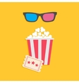 3d glasses big popcorn and ticket cinema icon in vector