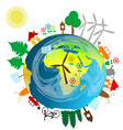 Ecological concept with earth globe vector