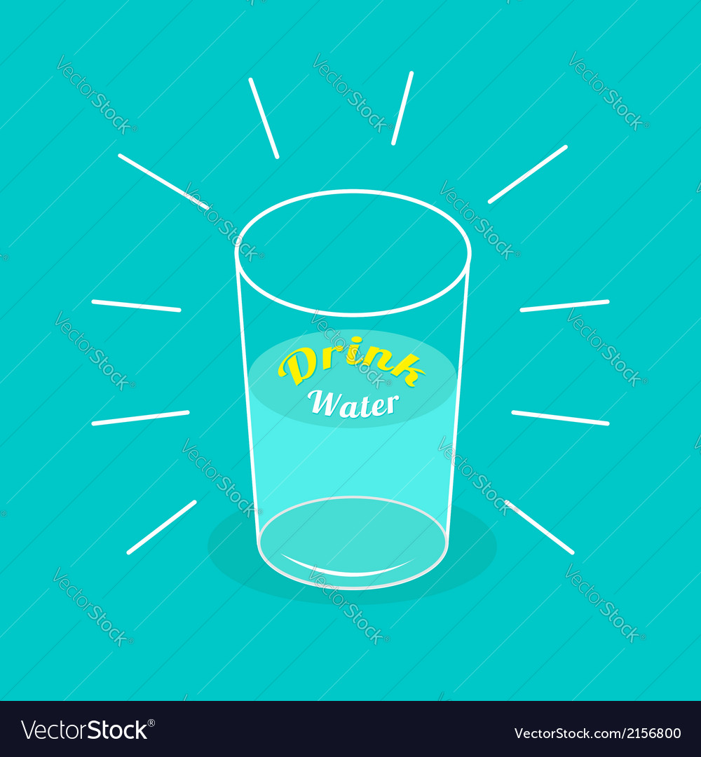 Big shining glass of water drink water infographic vector | Price: 1 Credit (USD $1)