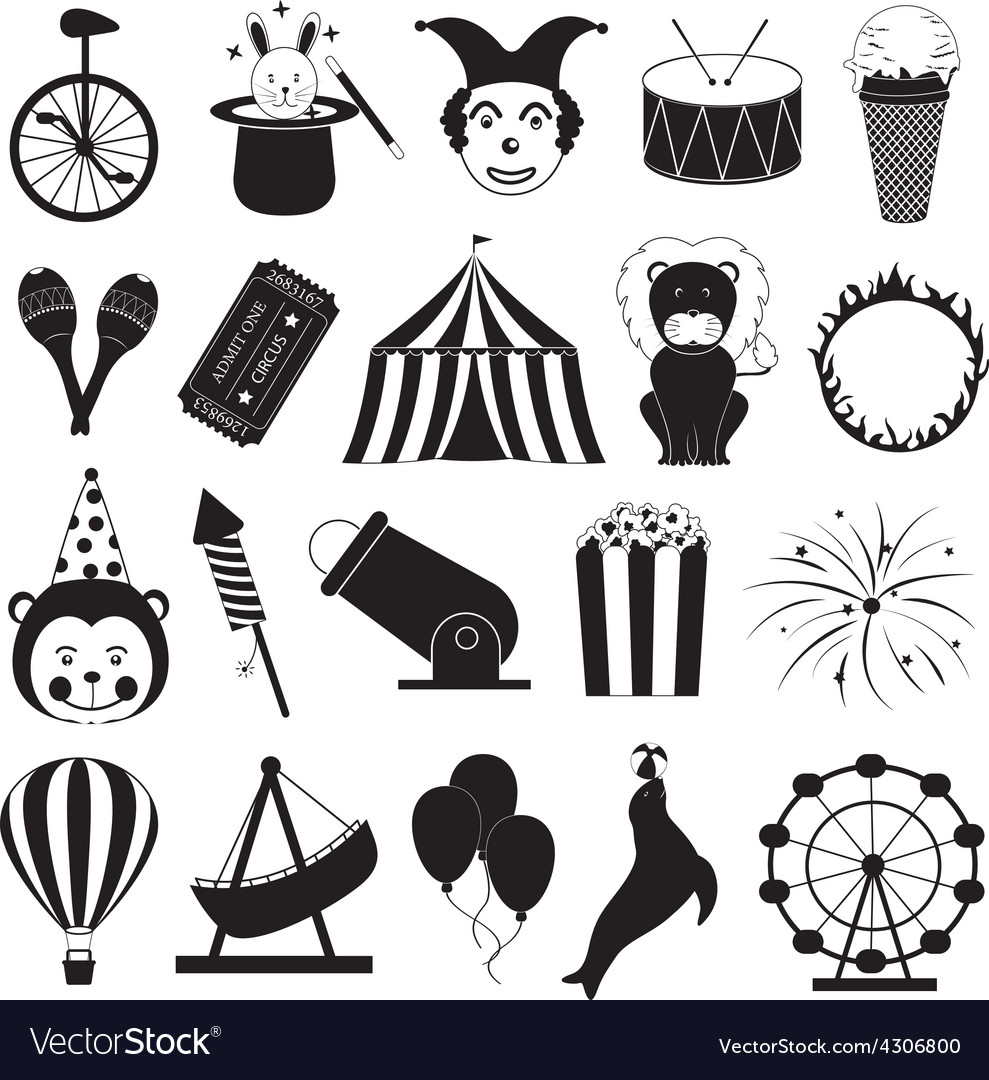 Circus and amusement park icons set vector | Price: 1 Credit (USD $1)