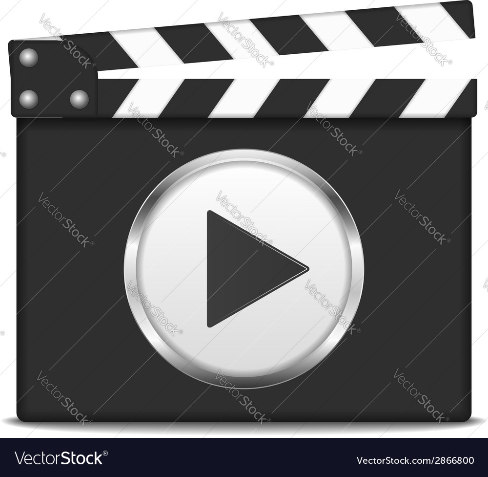 Clapper board with play button vector | Price: 1 Credit (USD $1)