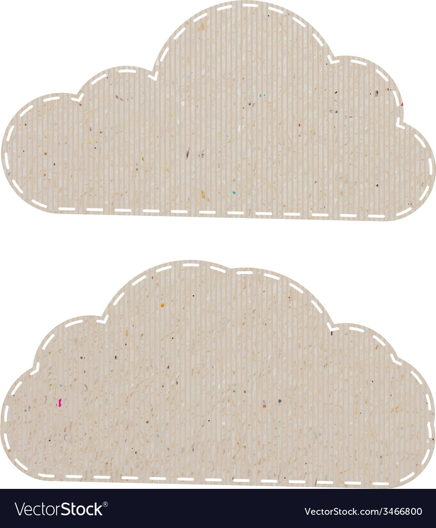 Cloud recycled paper craft on white paper vector | Price: 1 Credit (USD $1)