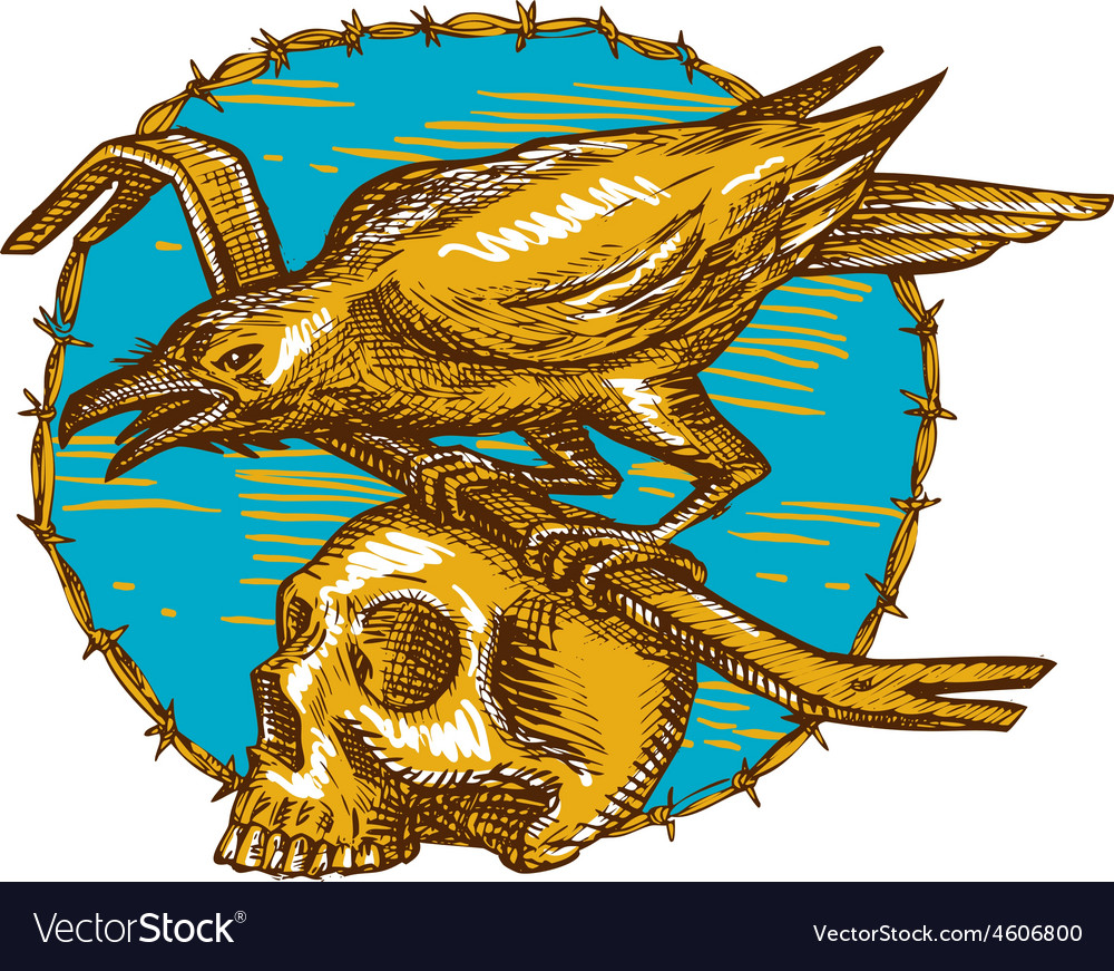 Crow perching crowbar skull barbed wire drawing vector | Price: 1 Credit (USD $1)