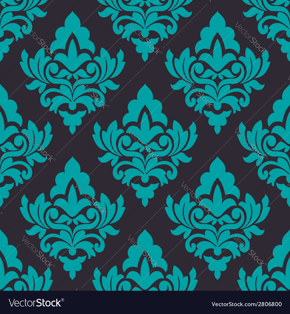 Floral turquoise damask seamless pattern vector | Price: 1 Credit (USD $1)