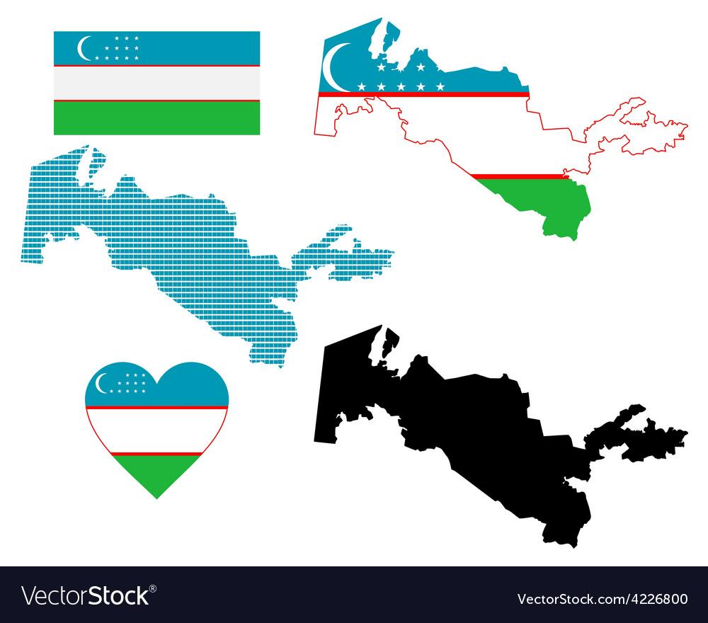Map of uzbekistan vector | Price: 1 Credit (USD $1)