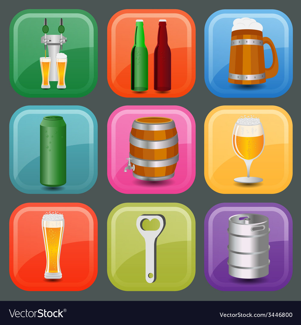 Set icons beer equipment for creating your own vector | Price: 1 Credit (USD $1)