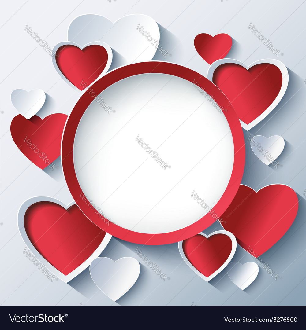 Valentines day background frame with 3d hearts vector | Price: 1 Credit (USD $1)