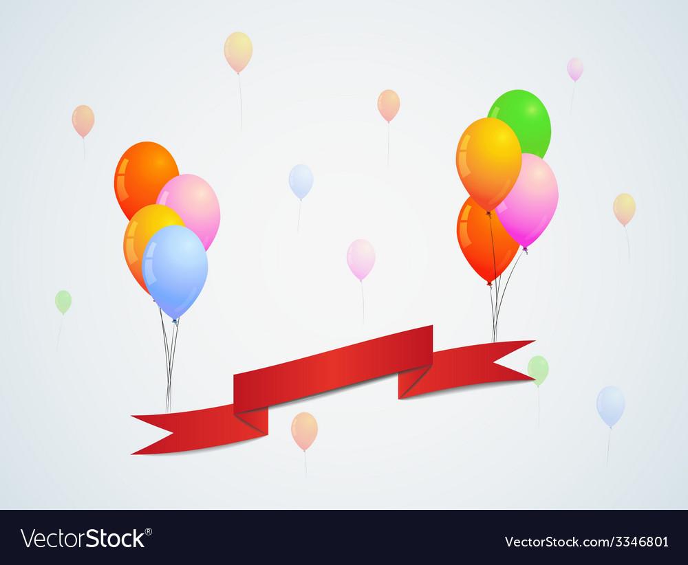 Balloons and ribbon vector   Price: 1 Credit (USD $1)